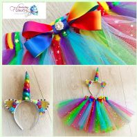 Rainbow Unicorn tutu tulle skirt head set girls dress up cake smash photos fancy dress